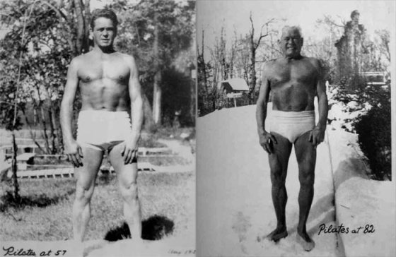 On the right: Joseph Pilates at age 57. On the Left: at age 82. Hubba Hubba!
